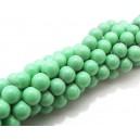 MS39 - (10 buc.) Margele sticla verde pal sfere 6mm