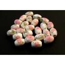 Margele portelan flori roz pal ovale 11*8mm