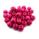 (10 buc.) Margele lemn roz fucsia 9mm