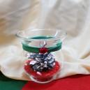 Aranjament Craciun in bol de sticla cu snur faux si con de brad