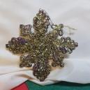 Ornament brad fulg de zapada glitter auriu 12cm