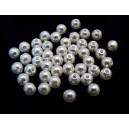 PA6mm-02 - (50 buc.) Perle acril albe sfere 6mm