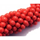 PSC8mm-04 - Perle sticla creponate rosii sfere 8mm