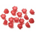 FA10*6mm-14 - (10 buc.) Flori acril rosu portocaliu frosted 10*6mm