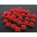 Cabochon rasina trandafir rosu 10mm