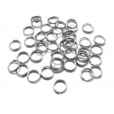 OTE15 - (20 buc.) Zale otel inoxidabil semiduble argintiu inchis 6*1.2mm
