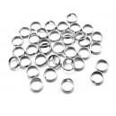 OTE16 - (20 buc.) Zale otel inoxidabil duble argintiu inchis 6*1.4mm