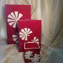UNICAT - XCER14A - Set vaze ceramica rosie cu frunze albe
