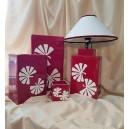 UNICAT - XCER14B - Set decoratiuni ceramica rosie cu frunze albe