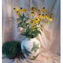 UNICAT - XCER60 - Vaza ceramica bej cu frunze vita de vie 34*28*17cm