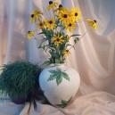UNICAT - XCER60B - Vaza ceramica bej cu frunze vita de vie 28*25*8cm