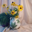 UNICAT - XCER60 - Vas cu doua toarte si capac ceramica bej cu frunze vita de vie 27*18*10cm