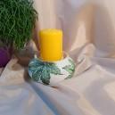 UNICAT - XCER60E - Suport lumanare ceramica bej cu frunze vita de vie 15*7cm