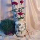 UNICAT - XCER61 - Vaza ceramica bej cu crenguta si flori albe 28*18*11cm