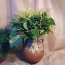 UNICAT - XCER64 - Vas cu doua toarte ceramica maro roscat si gri cu frunza vita de vie 22*19*10cm