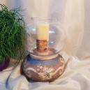 UNICAT - XCER64A - Sport lumanare ceramica maro roscat si gri cu frunza vita de vie 23*18cm
