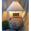 UNICAT - XCER64B - Veioza ceramica maro roscat si gri cu frunza vita de vie 60cm/80cm