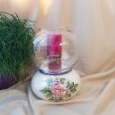 UNICAT - XCER67 - Sport lumanare ceramica cu flori roz prafuit 23*18cm