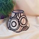 DISPONIBIL 1 BUCATA - Abajur textil nuante de maro si cercuri negre  pentru veioza/lampadar 20cm