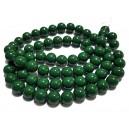 E-MS23 - (1 sirag) Margele sticla verde padure sfere 12mm