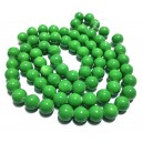 E-MS28 - (1 sirag) Margele sticla verde brotacel sfere 12mm