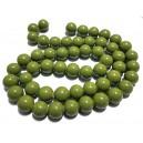 E-MS31 - (1 sirag) Margele sticla verde olive sfere 16mm