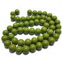 MS32 - Margele sticla verde olive sfere 14mm