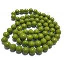 E-MS33 - (1 sirag) Margele sticla verde olive sfere 12mm