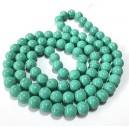 E-MS42 - (1 sirag) Margele sticla verde turcoaz irizatii negre sfere 10mm