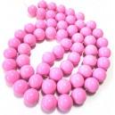 E-MS106 - (1 sirag) Margele sticla roz bombon sfere 16mm