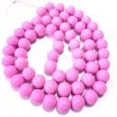 E-MS107 - (1 sirag) Margele sticla roz intens usor movuliu sfere 14mm