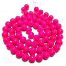 E-MS115 - (1 sirag) Margele sticla roz bombon sfere 12mm