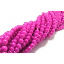 MS119 - (10 buc.) Margele sticla roz fucsia sfere 4mm