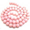 E-MS137 - (1 sirag) Margele sticla roz pal sfere 14mm