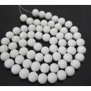 E-MS178 - (1 sirag) Margele sticla albe sfere 12mm