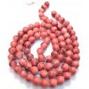 E-MS242 - (1 sirag) Margele sticla rosu indian cu irizatii gri sfere 10mm