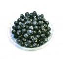 MS243 - (10 buc.) Margele sticla negre cu irizatii gri verzui sfere 8mm