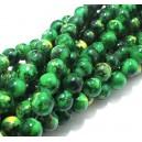 MS245 - (10 buc.) Margele sticla verde si galben sfere 8mm