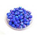 MS246 - (10 buc.) Margele sticla nuante albastru intens si roz sfere 8mm