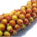 (10 buc.) Margele sticla galben si portocaliu sfere 8mm