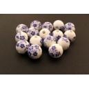 Margele portelan flori albastre sfere 12mm