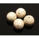 DISPONIBIL 4 BUCATI - Howlit de sinteza alb sfere 16mm - CU PETE