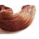 (1 metru) Snur bumbac cerat maro roscat 1mm