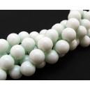 MS182 - Margele sticla alb foarte usor verzui sfere 12mm