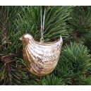 Ornament brad sticla pasare auriu antic 8*7.5*8cm