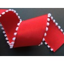 Ribbon textil rosu+ciucure alb 38mm