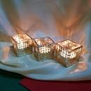(3 buc.) Suport lumanare sticla cu model auriu 5*5.3cm