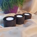 (set 3 buc.) Suport lumanare pastila ceramica maro 7.2*5cm