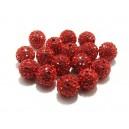 Margele Shamballa rosii sfere 10mm - rhinestone grad A