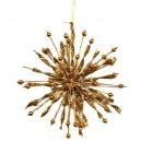 Ornament brad metal fulg zapada auriu glitter 14*1,5cm